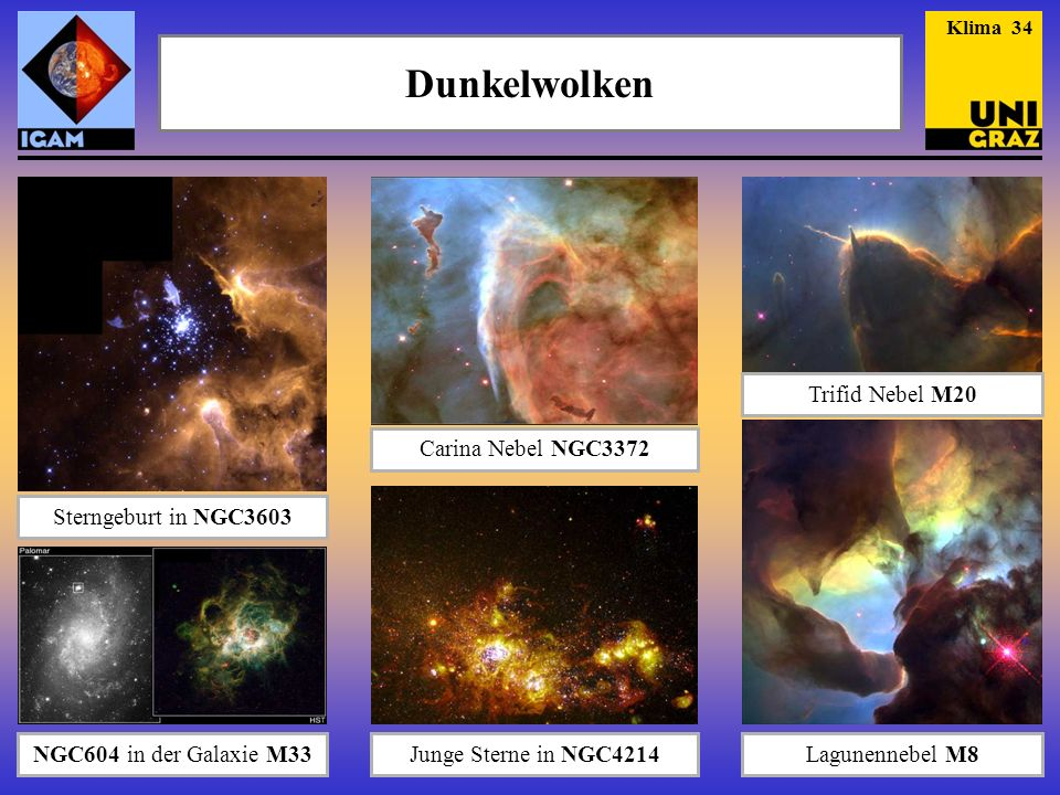 Dunkelwolken Sterngeburt in NGC3603 Carina Nebel NGC3372 Trifid Nebel M20 Junge Sterne in NGC4214NGC604 in der Galaxie M33Lagunennebel M8 Klima 34