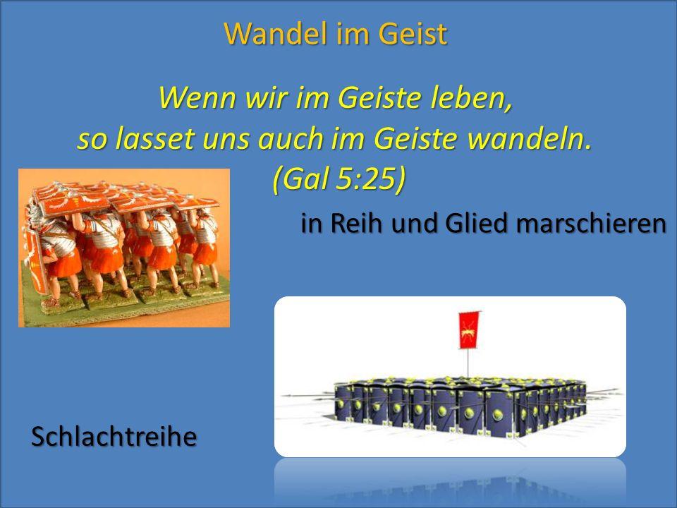 Wenn wir im Geiste leben, so lasset uns auch im Geiste wandeln. (Gal 5:25) in Reih und Glied marschieren Schlachtreihe