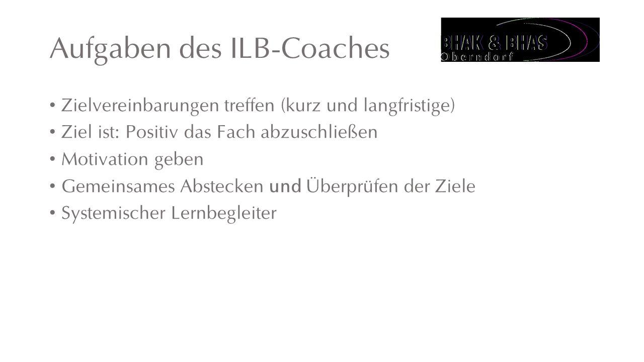 Aufgaben des ILB-Coaches Zielvereinbarungen treffen (kurz und langfristige) Ziel ist: Positiv das Fach abzuschließen Motivation geben Gemeinsames Abstecken und Überprüfen der Ziele Systemischer Lernbegleiter