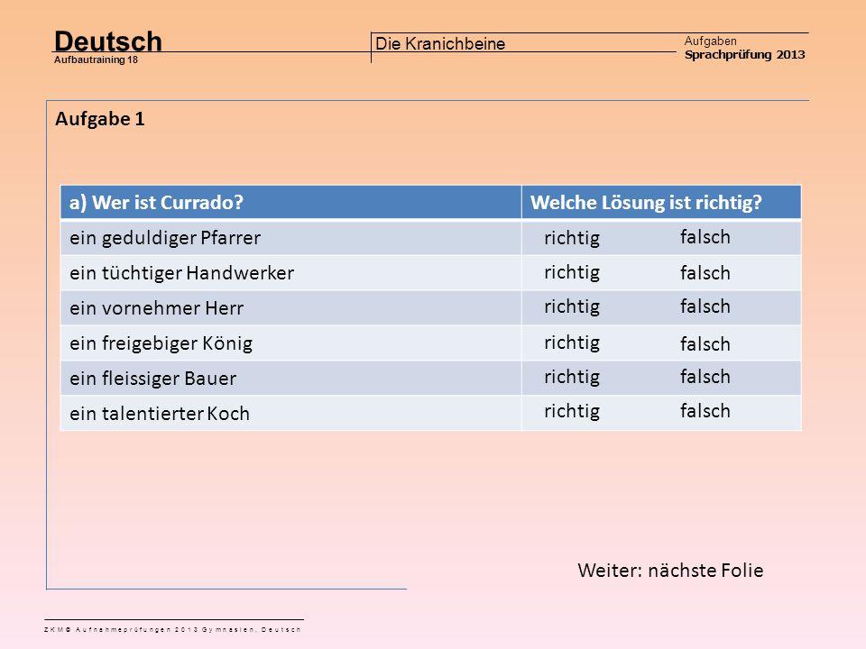 Zentrale Aufnahme Prüfung ZH 2013 Sprachprüfung Deutsch Die Kranichbeine