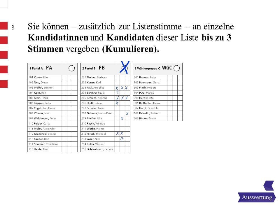 8 Sie können – zusätzlich zur Listenstimme – an einzelne Kandidatinnen und Kandidaten dieser Liste bis zu 3 Stimmen vergeben (Kumulieren).