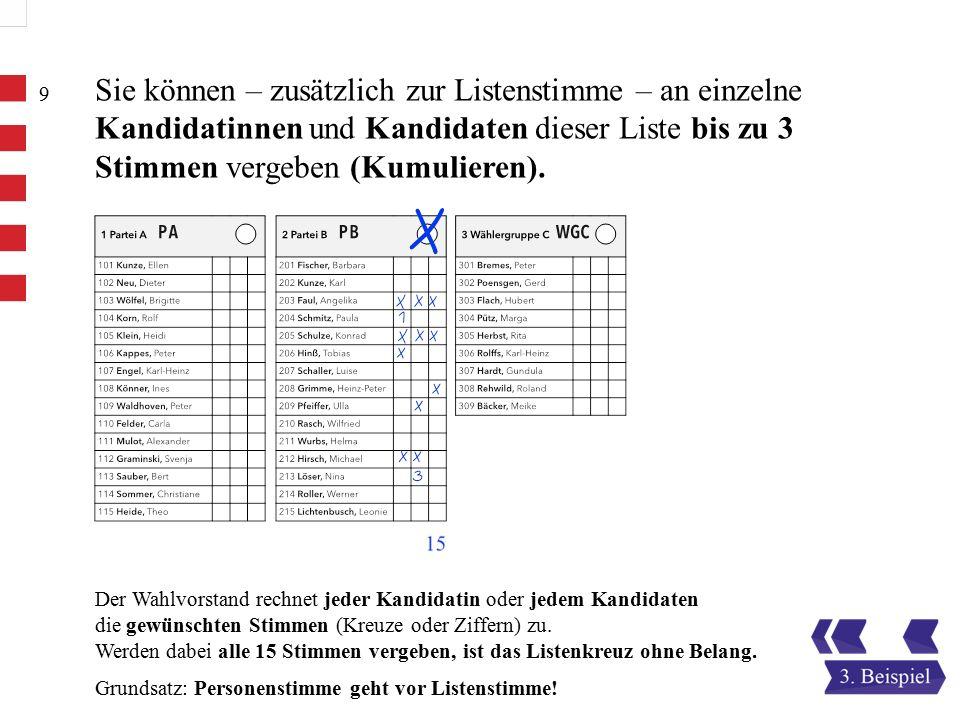 Der Wahlvorstand rechnet jeder Kandidatin oder jedem Kandidaten die gewünschten Stimmen (Kreuze oder Ziffern) zu.