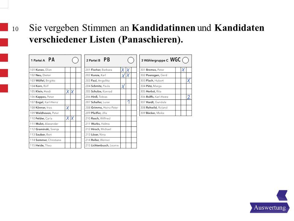 10 Sie vergeben Stimmen an Kandidatinnen und Kandidaten verschiedener Listen (Panaschieren).