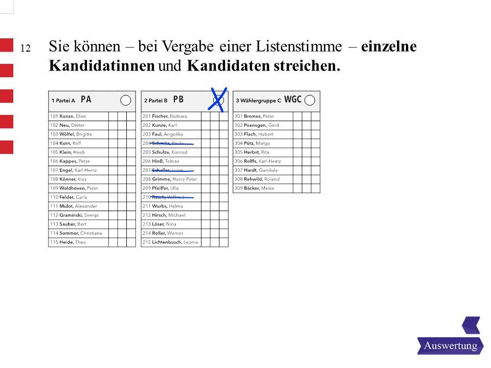 12 Sie können – bei Vergabe einer Listenstimme – einzelne Kandidatinnen und Kandidaten streichen.