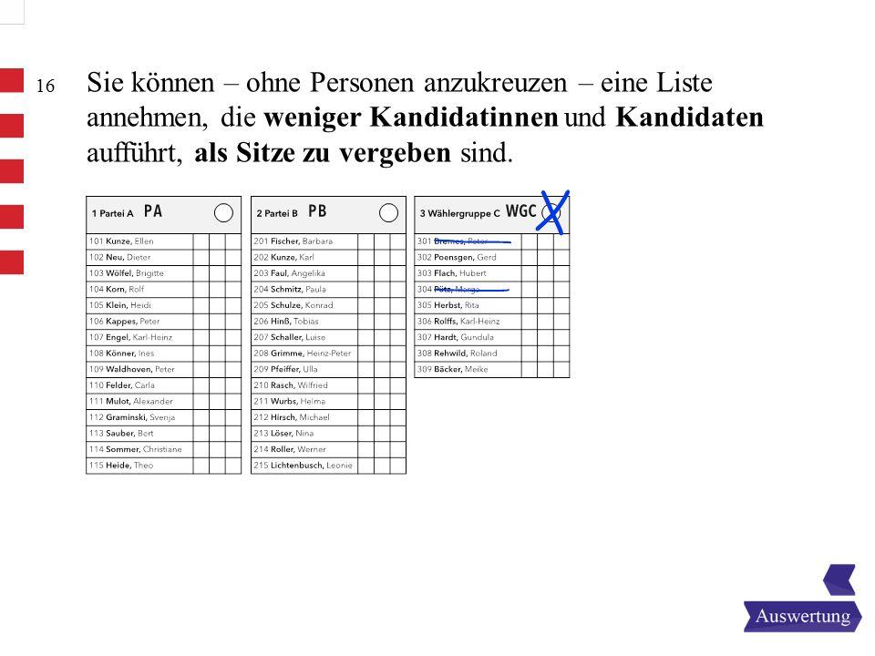 16 Sie können – ohne Personen anzukreuzen – eine Liste annehmen, die weniger Kandidatinnen und Kandidaten aufführt, als Sitze zu vergeben sind.