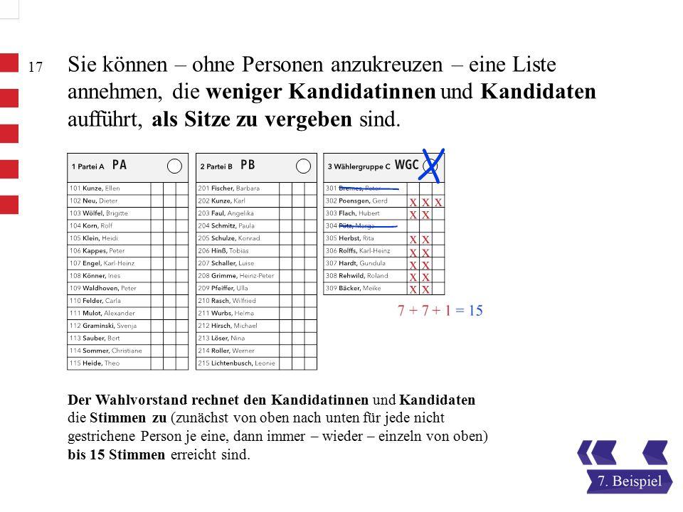 17 Sie können – ohne Personen anzukreuzen – eine Liste annehmen, die weniger Kandidatinnen und Kandidaten aufführt, als Sitze zu vergeben sind.