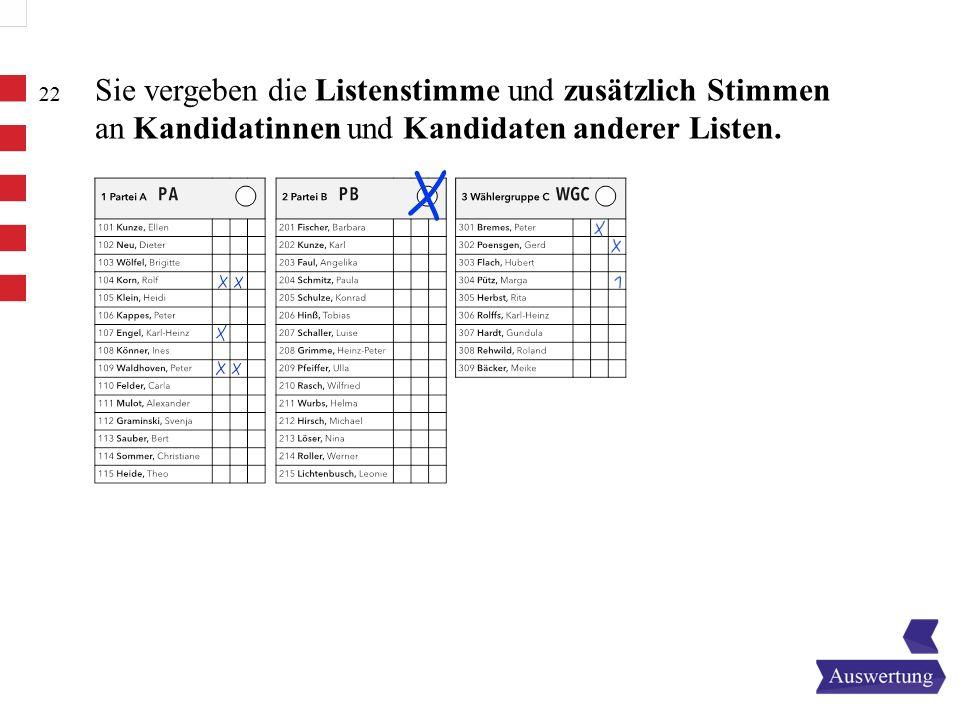 22 Sie vergeben die Listenstimme und zusätzlich Stimmen an Kandidatinnen und Kandidaten anderer Listen.