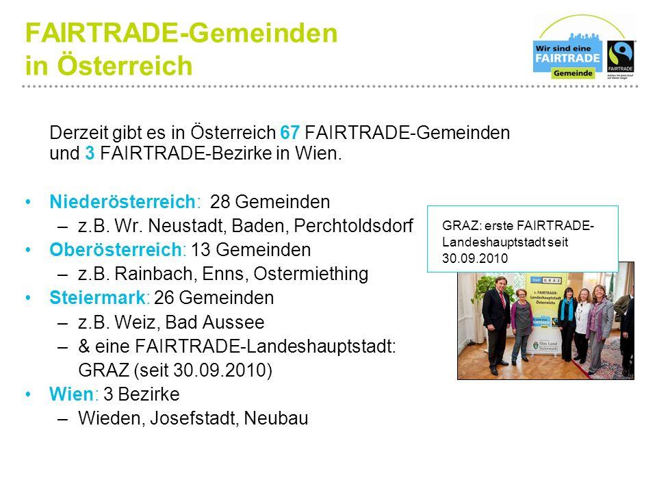 FAIRTRADE-Gemeinden in Österreich Derzeit gibt es in Österreich 67 FAIRTRADE-Gemeinden und 3 FAIRTRADE-Bezirke in Wien.