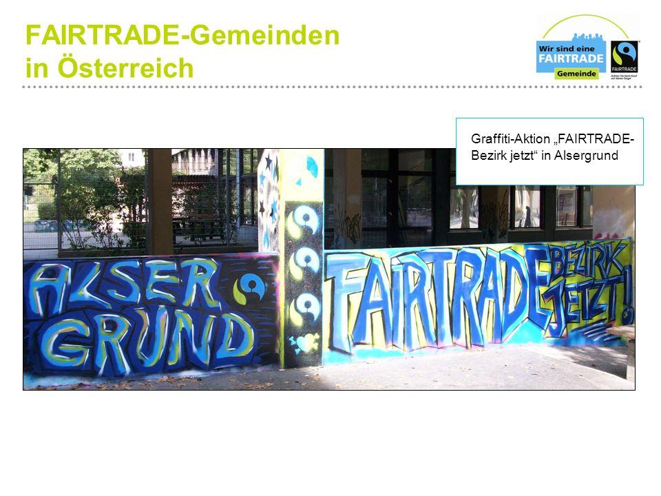 """FAIRTRADE-Gemeinden in Österreich Graffiti-Aktion """"FAIRTRADE- Bezirk jetzt in Alsergrund"""