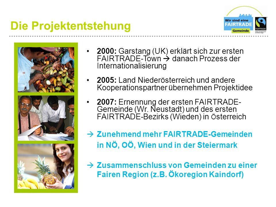 Die Projektentstehung 2000: Garstang (UK) erklärt sich zur ersten FAIRTRADE-Town  danach Prozess der Internationalisierung 2005: Land Niederösterreich und andere Kooperationspartner übernehmen Projektidee 2007: Ernennung der ersten FAIRTRADE- Gemeinde (Wr.