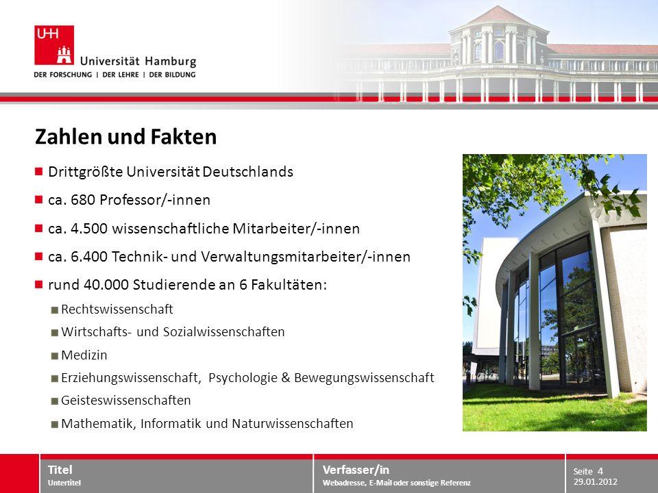 Verfasser/in Webadresse, E-Mail oder sonstige Referenz Standorte in Hamburg 29.01.2012 Titel Untertitel Seite 5 Universitäts-Campus Lehrerprüfungsamt Dept.