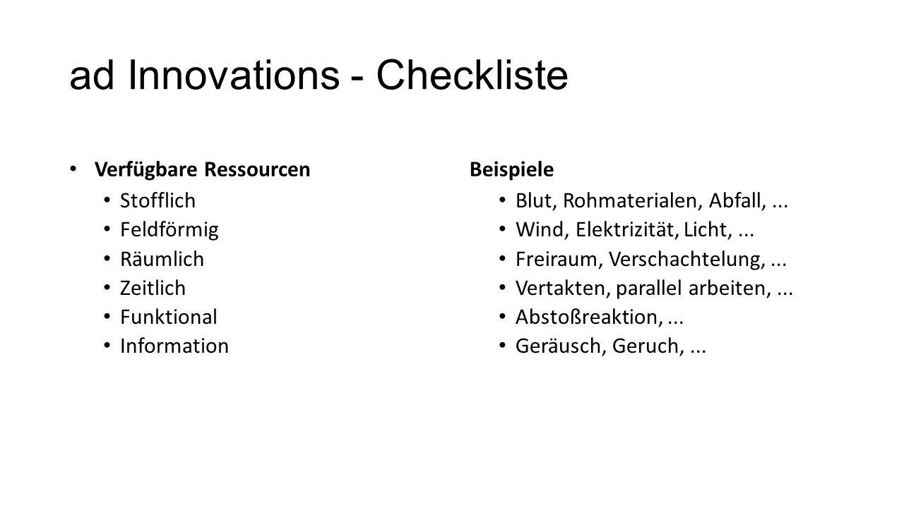 ad Innovations - Checkliste Verfügbare Ressourcen Stofflich Feldförmig Räumlich Zeitlich Funktional Information Beispiele Blut, Rohmaterialen, Abfall,