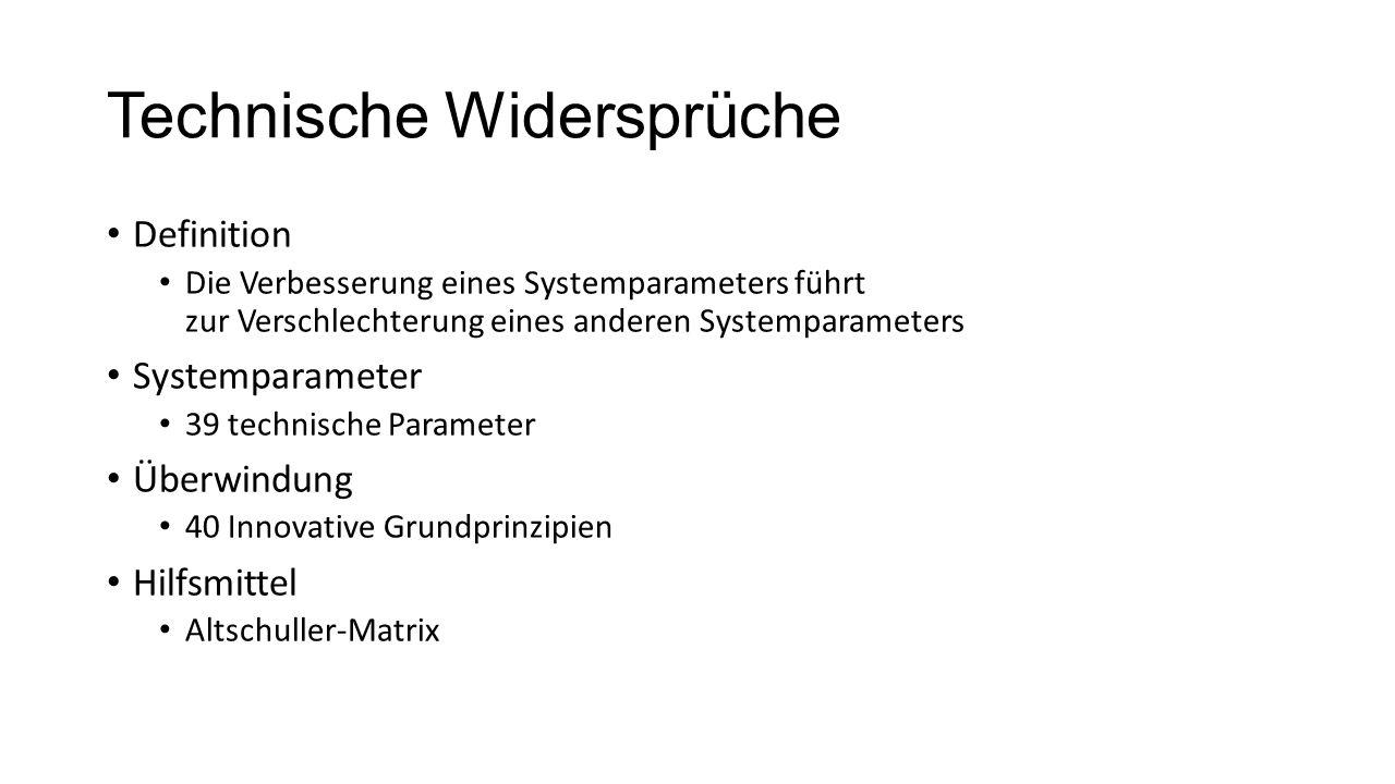 Technische Widersprüche Definition Die Verbesserung eines Systemparameters führt zur Verschlechterung eines anderen Systemparameters Systemparameter 3
