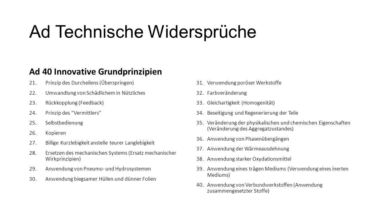 Ad Technische Widersprüche Ad 40 Innovative Grundprinzipien 21.Prinzip des Durcheilens (Überspringen) 22.Umwandlung von Schädlichem in Nützliches 23.R