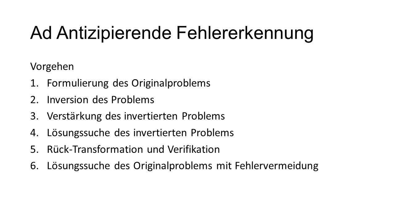 Ad Antizipierende Fehlererkennung Vorgehen 1.Formulierung des Originalproblems 2.Inversion des Problems 3.Verstärkung des invertierten Problems 4.Lösu