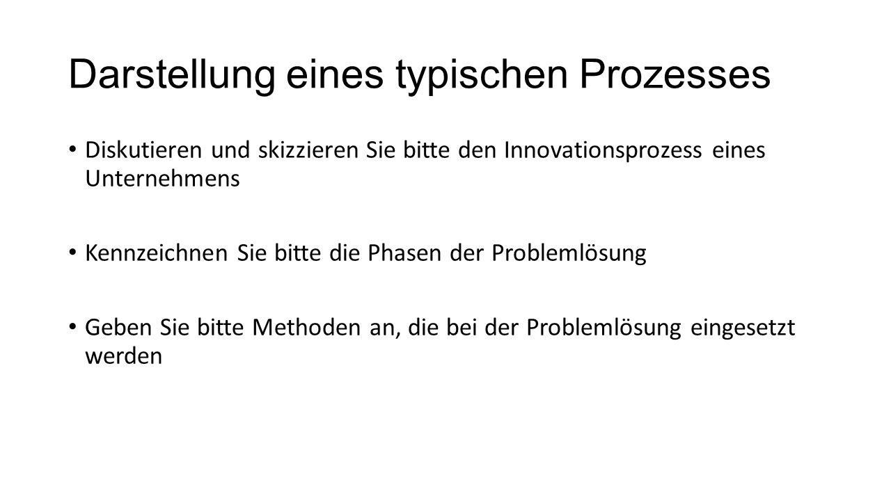 Darstellung eines typischen Prozesses Diskutieren und skizzieren Sie bitte den Innovationsprozess eines Unternehmens Kennzeichnen Sie bitte die Phasen