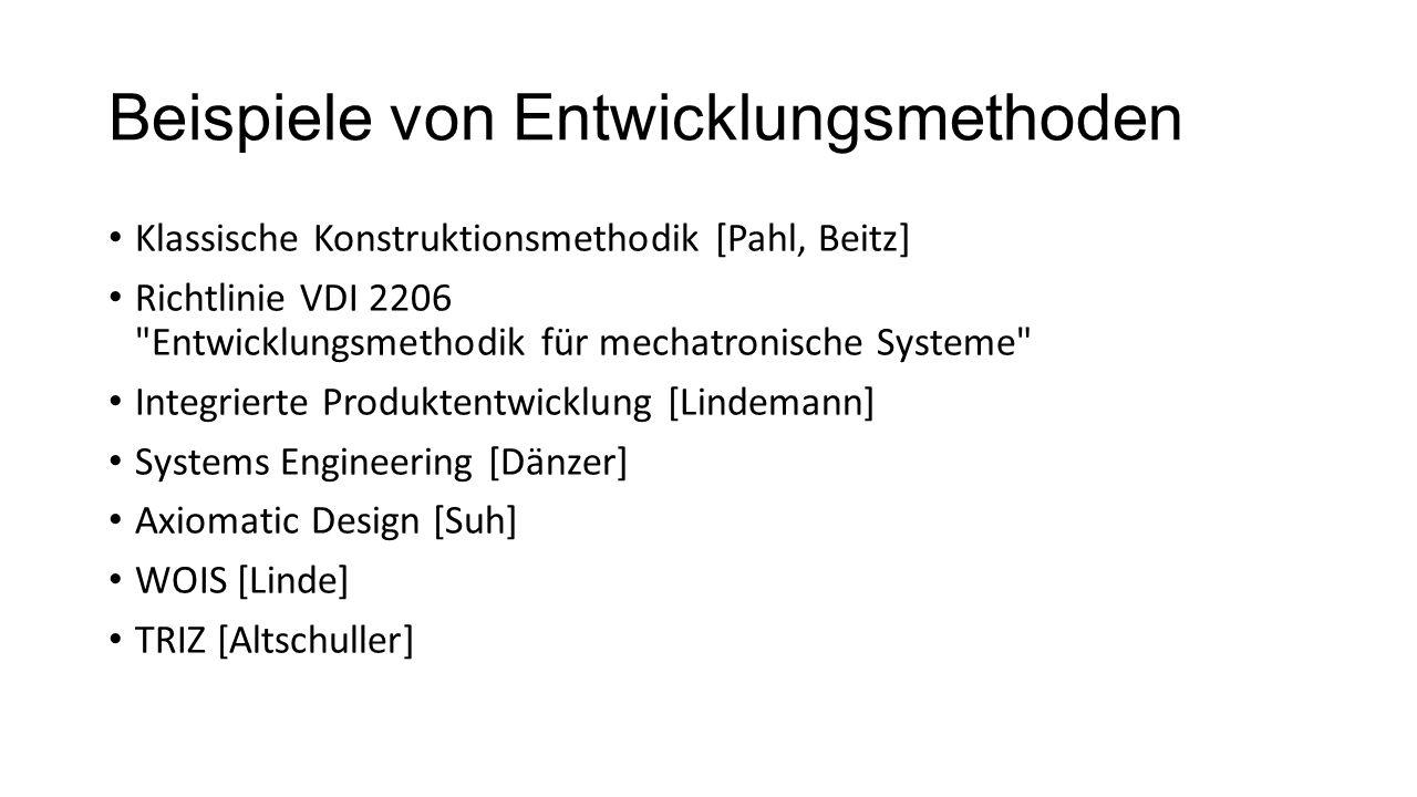 Beispiele von Entwicklungsmethoden Klassische Konstruktionsmethodik [Pahl, Beitz] Richtlinie VDI 2206