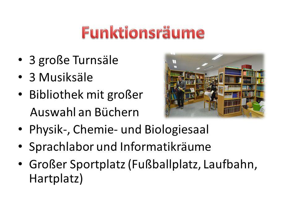 3 große Turnsäle 3 Musiksäle Bibliothek mit großer Auswahl an Büchern Physik-, Chemie- und Biologiesaal Sprachlabor und Informatikräume Großer Sportpl