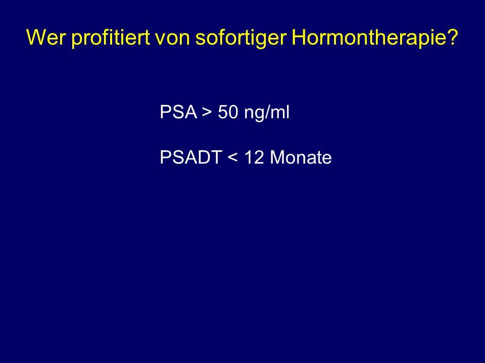 Wer profitiert von sofortiger Hormontherapie? PSA > 50 ng/ml PSADT < 12 Monate