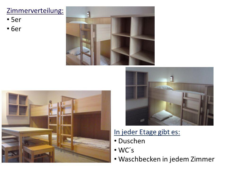 Zimmerverteilung: 5er 6er In jeder Etage gibt es: Duschen WC´s Waschbecken in jedem Zimmer