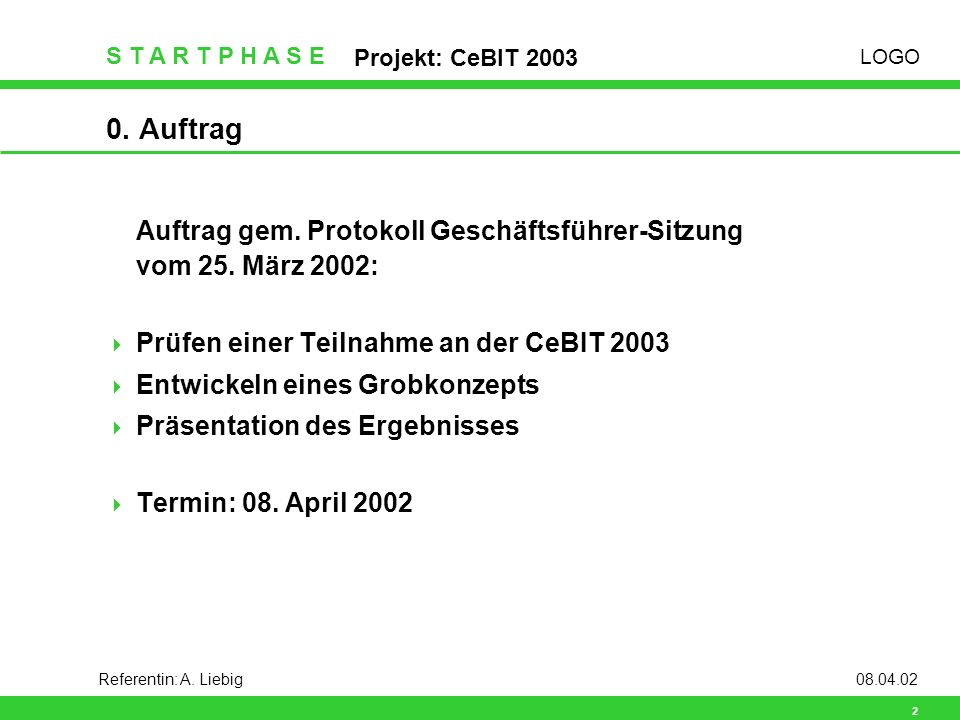 LOGO S T A R T P H A S E Projekt: CeBIT 2003 3 Referentin: A.