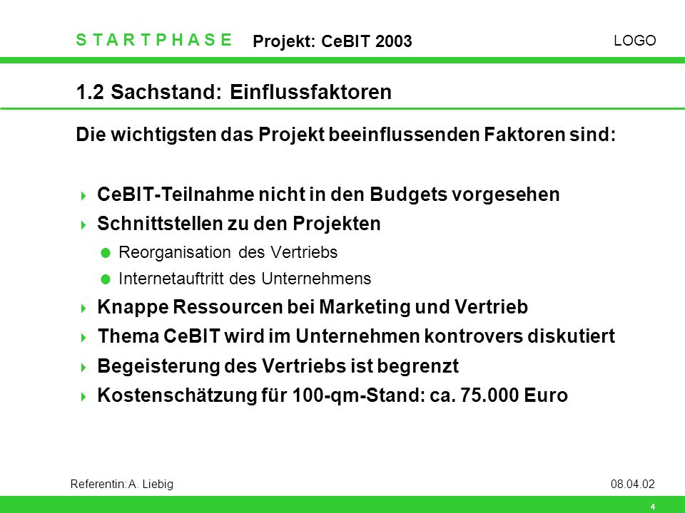 LOGO S T A R T P H A S E Projekt: CeBIT 2003 4 Referentin: A.