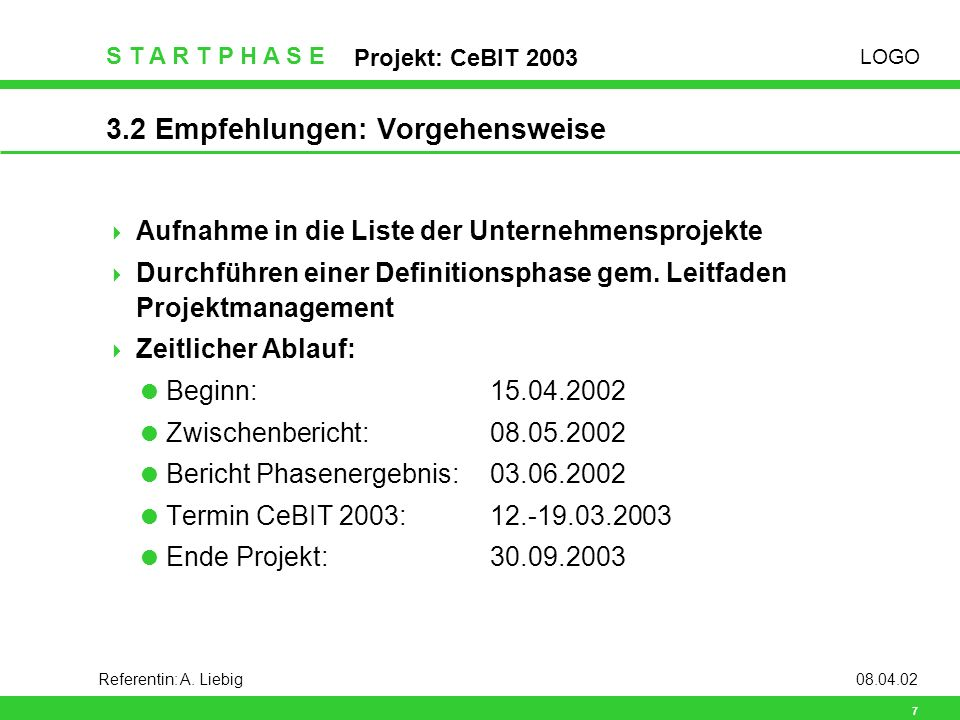 LOGO S T A R T P H A S E Projekt: CeBIT 2003 8 Referentin: A.
