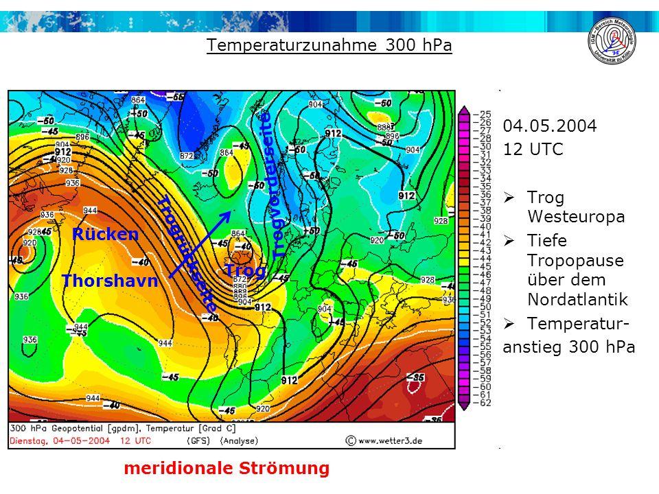 Temperaturzunahme 300 hPa 04.05.2004 12 UTC  Trog Westeuropa  Tiefe Tropopause über dem Nordatlantik  Temperatur- anstieg 300 hPa Trog Trogvorderseite Trogrückseite Rücken meridionale Strömung Thorshavn