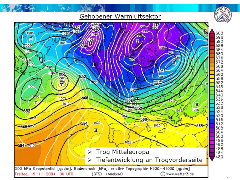 Gehobener Warmluftsektor  Trog Mitteleuropa  Tiefentwicklung an Trogvorderseite