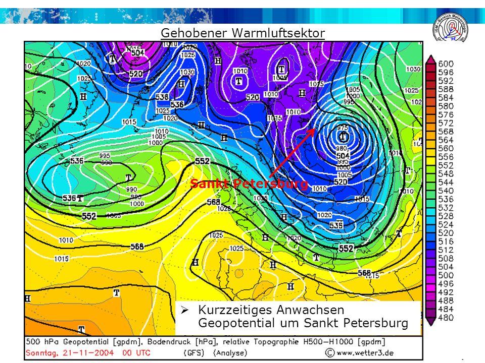 Gehobener Warmluftsektor  Kurzzeitiges Anwachsen Geopotential um Sankt Petersburg Sankt Petersburg
