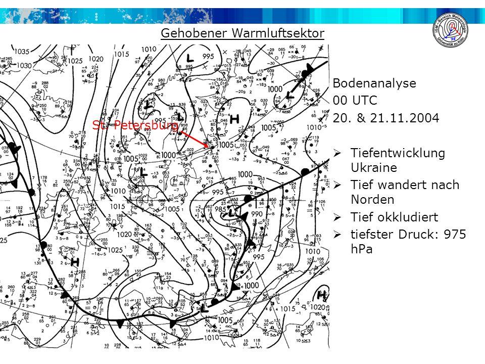 Bodenanalyse 00 UTC 20. & 21.11.2004  Tiefentwicklung Ukraine  Tief wandert nach Norden  Tief okkludiert  tiefster Druck: 975 hPa St. Petersburg G