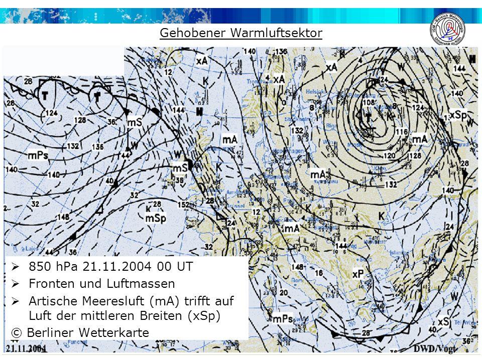  850 hPa 21.11.2004 00 UT  Fronten und Luftmassen  Artische Meeresluft (mA) trifft auf Luft der mittleren Breiten (xSp) © Berliner Wetterkarte