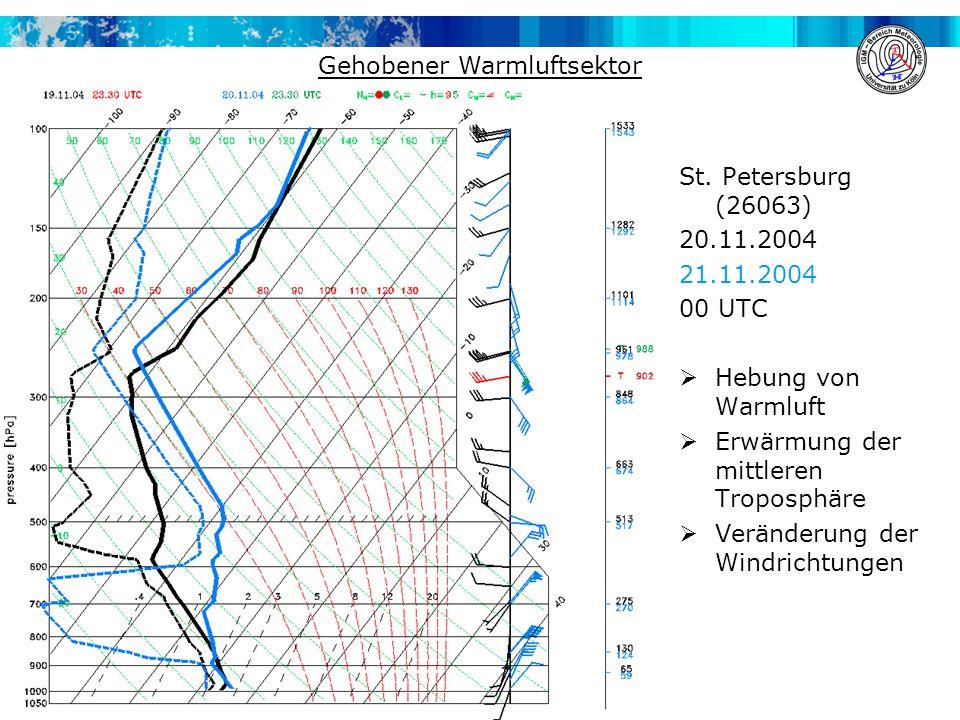 St. Petersburg (26063) 20.11.2004 21.11.2004 00 UTC  Hebung von Warmluft  Erwärmung der mittleren Troposphäre  Veränderung der Windrichtungen Gehob