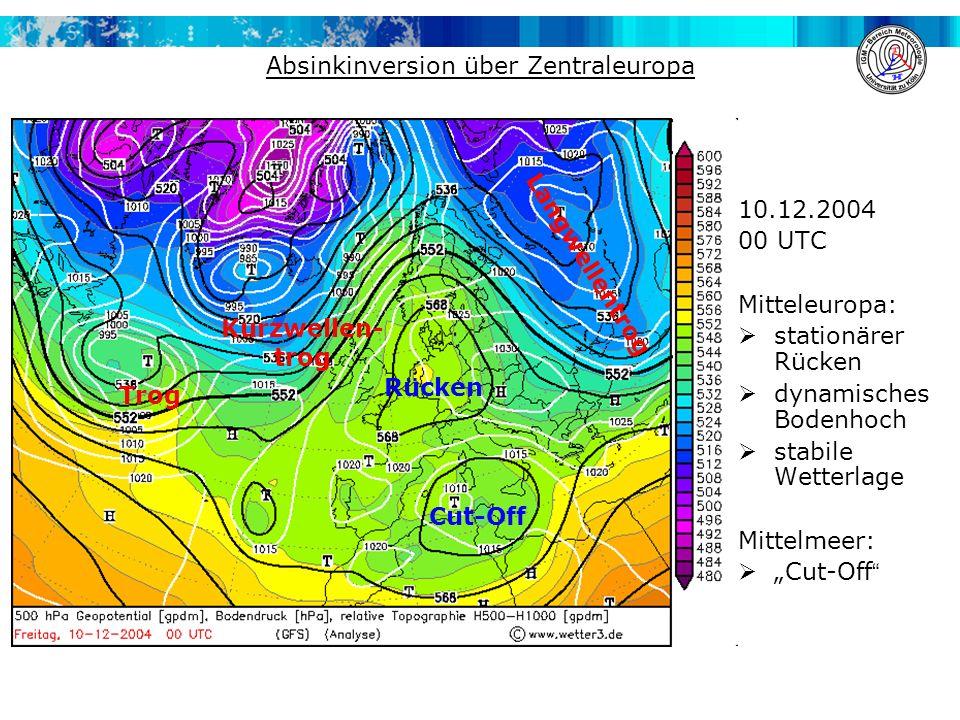 """Absinkinversion über Zentraleuropa 10.12.2004 00 UTC Mitteleuropa:  stationärer Rücken  dynamisches Bodenhoch  stabile Wetterlage Mittelmeer:  """"Cut-Off Rücken Langwellentrog Kurzwellen- trog Trog Cut-Off"""