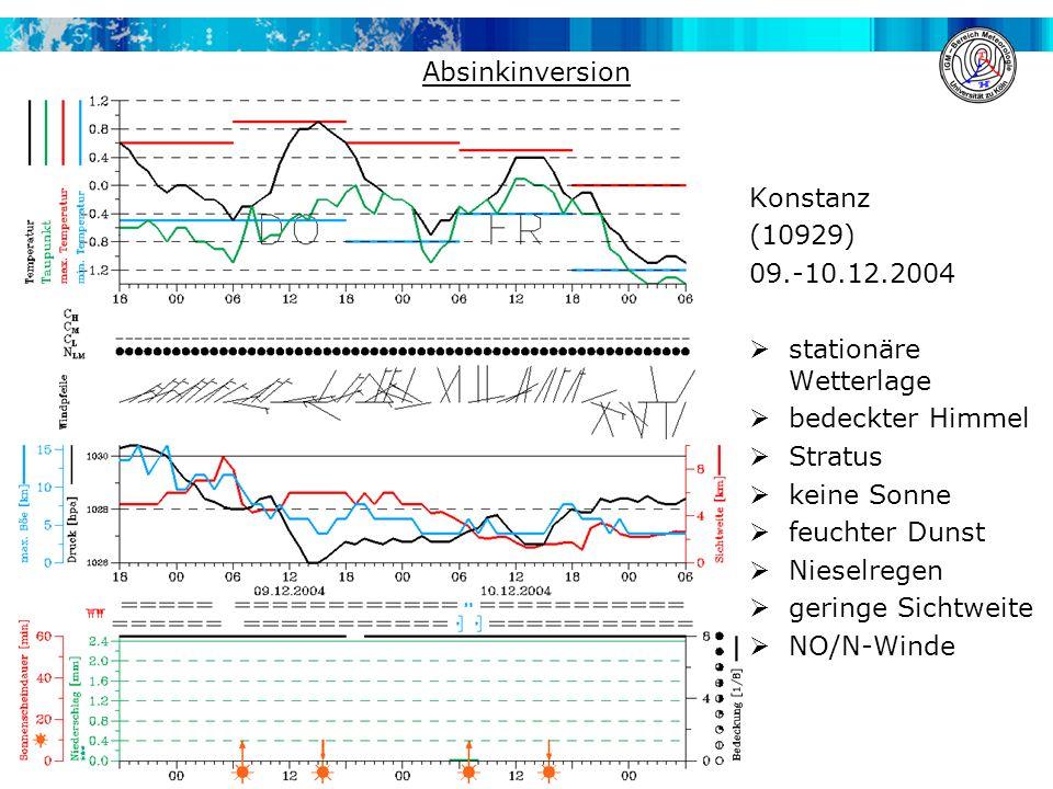 INVERSION Konstanz (10929) 09.-10.12.2004  stationäre Wetterlage  bedeckter Himmel  Stratus  keine Sonne  feuchter Dunst  Nieselregen  geringe Sichtweite  NO/N-Winde Absinkinversion