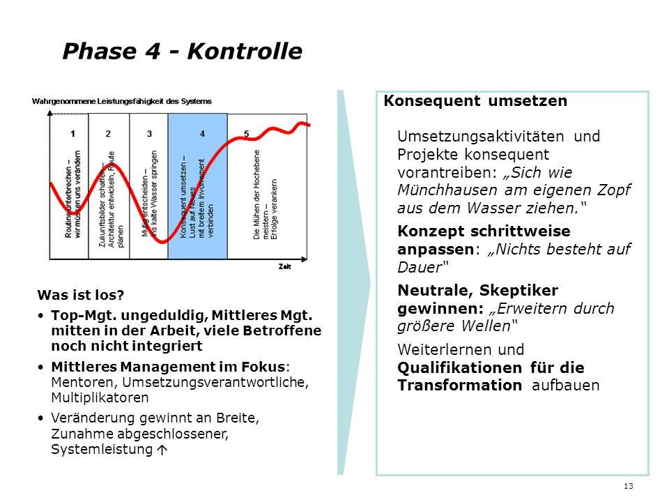 13 Phase 4 - Kontrolle Was ist los? Top-Mgt. ungeduldig, Mittleres Mgt. mitten in der Arbeit, viele Betroffene noch nicht integriert Mittleres Managem