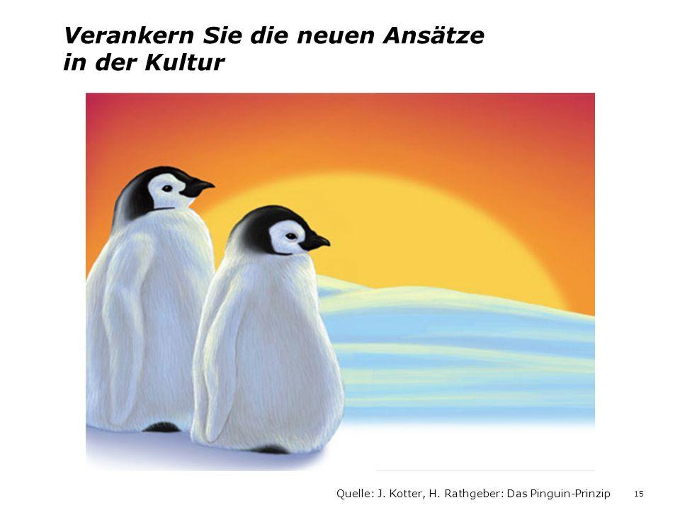 Verankern Sie die neuen Ansätze in der Kultur Quelle: J. Kotter, H. Rathgeber: Das Pinguin-Prinzip 15
