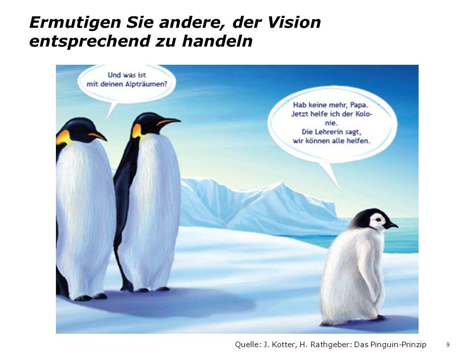Ermutigen Sie andere, der Vision entsprechend zu handeln Quelle: J. Kotter, H. Rathgeber: Das Pinguin-Prinzip 9