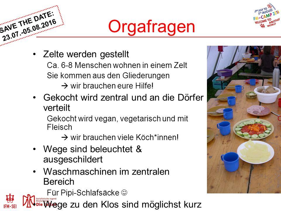 SAVE THE DATE: 23.07.-05.08.2016 Orgafragen Zelte werden gestellt Ca.