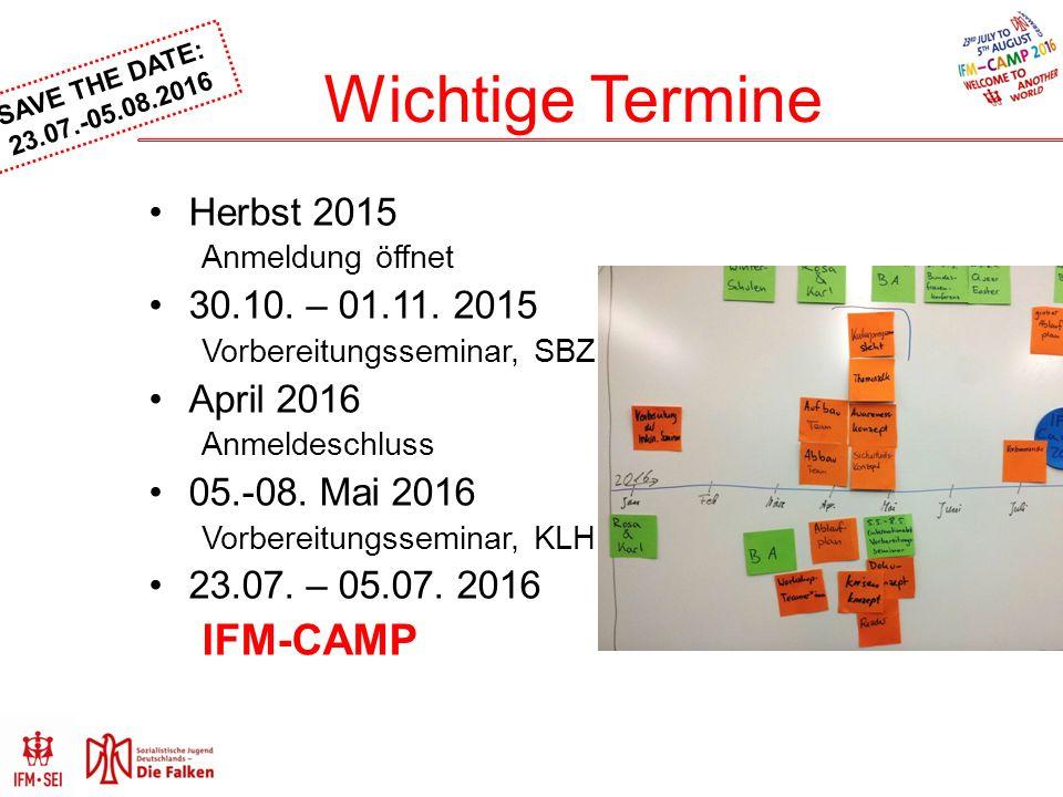 SAVE THE DATE: 23.07.-05.08.2016 Wichtige Termine Herbst 2015 Anmeldung öffnet 30.10.