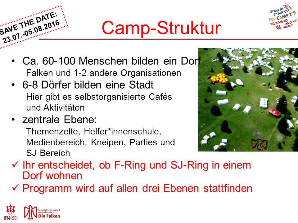 SAVE THE DATE: Camp-Struktur Ca.