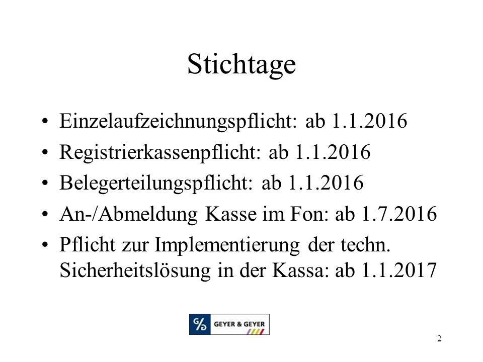 2 Stichtage Einzelaufzeichnungspflicht: ab 1.1.2016 Registrierkassenpflicht: ab 1.1.2016 Belegerteilungspflicht: ab 1.1.2016 An-/Abmeldung Kasse im Fon: ab 1.7.2016 Pflicht zur Implementierung der techn.