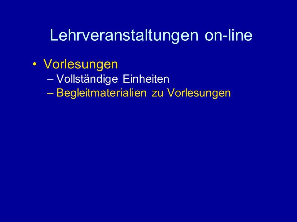 Lehrveranstaltungen on-line Vorlesungen –Vollständige Einheiten –Begleitmaterialien zu Vorlesungen