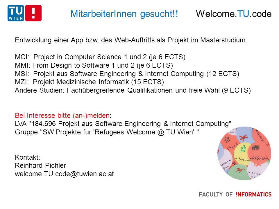 MitarbeiterInnen gesucht!. Welcome.TU.code Entwicklung einer App bzw.