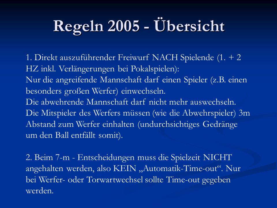Regeln 2005 - Übersicht 1. Direkt auszuführender Freiwurf NACH Spielende (1.