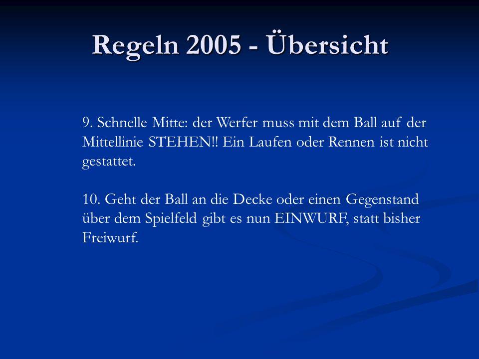 Regeln 2005 - Übersicht 9. Schnelle Mitte: der Werfer muss mit dem Ball auf der Mittellinie STEHEN!! Ein Laufen oder Rennen ist nicht gestattet. 10. G