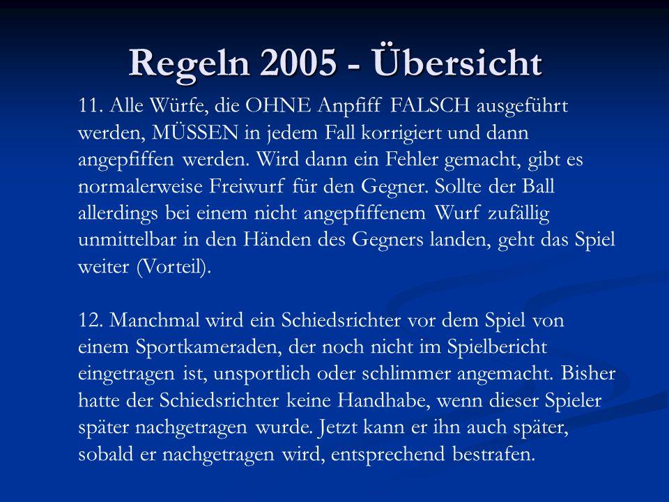 Regeln 2005 - Übersicht 11. Alle Würfe, die OHNE Anpfiff FALSCH ausgeführt werden, MÜSSEN in jedem Fall korrigiert und dann angepfiffen werden. Wird d