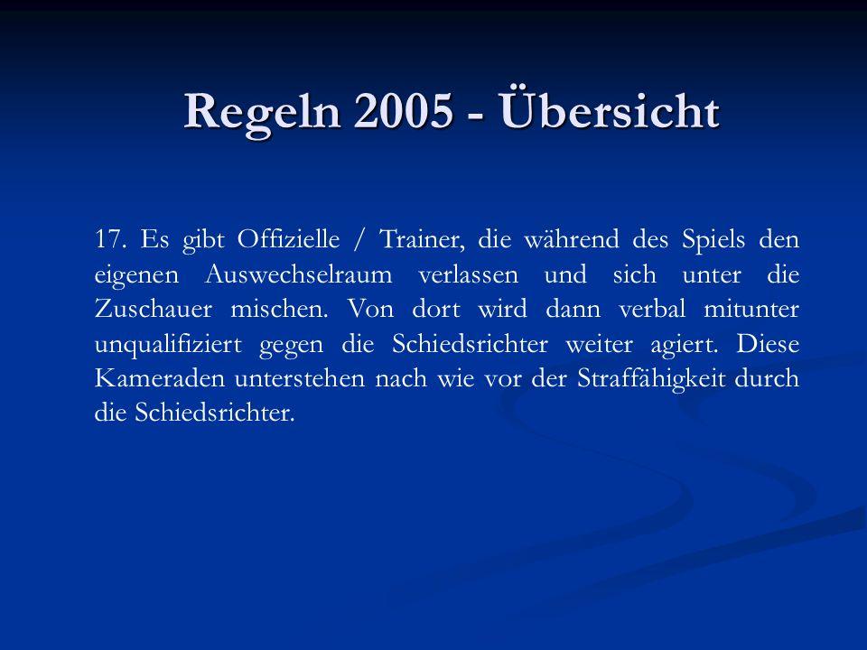 Regeln 2005 - Übersicht 17. Es gibt Offizielle / Trainer, die während des Spiels den eigenen Auswechselraum verlassen und sich unter die Zuschauer mis