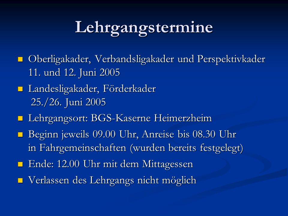 Lehrgangstermine Oberligakader, Verbandsligakader und Perspektivkader 11.