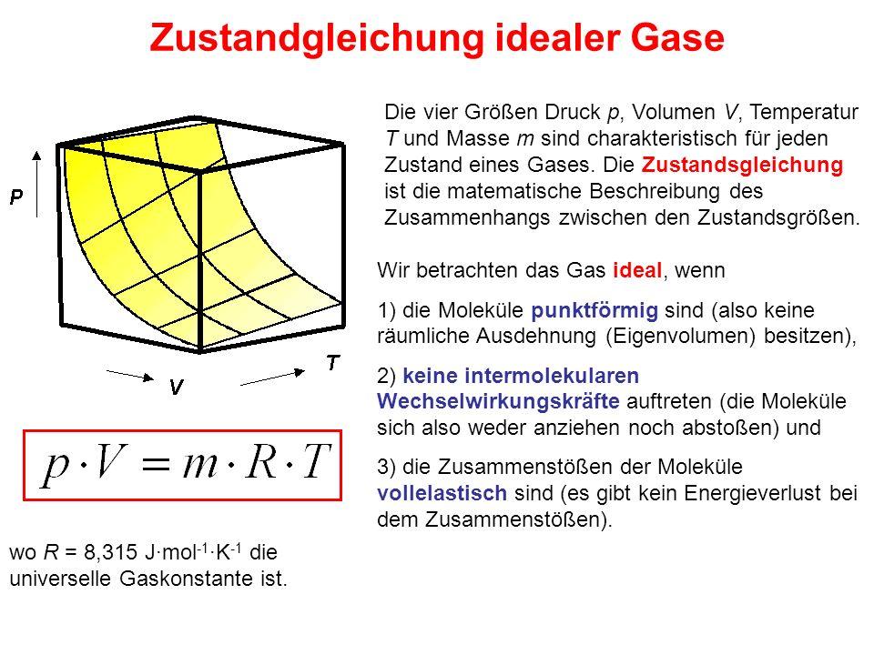 Zustandgleichung idealer Gase Wir betrachten das Gas ideal, wenn 1) die Moleküle punktförmig sind (also keine räumliche Ausdehnung (Eigenvolumen) besi